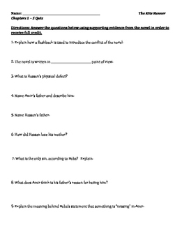 The Kite Runner Reading Quizzes and Answer Keys
