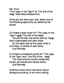 """The Lady or the Tiger?"" & ""The Gift of the Magi"" Alternat"