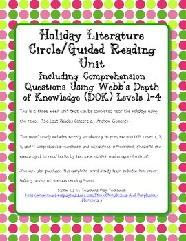 The Last Holiday Concert Novel Study Webb's DOK Questions