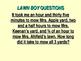 The Lawn Boy Read Aloud by Gary Paulsen PowerPoint Math Questions