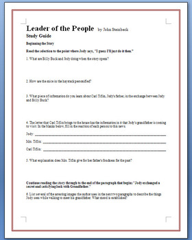 """""""The Leader of the People"""" - Steinbeck - 19 study guide questions"""