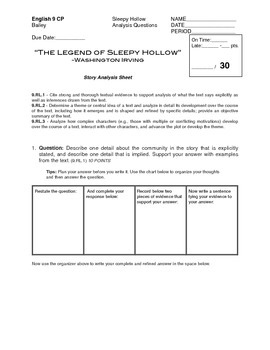 The Legend of Sleepy Hollow Analysis Questions (Common Core)