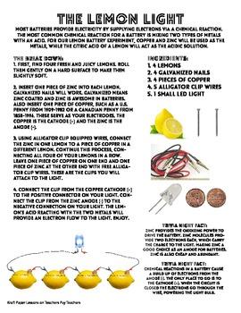 The Lemon Light - Science Experiment Teacher's Guide