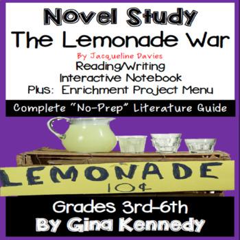 The Lemonade War, Novel Study & Enrichment Projects Menu