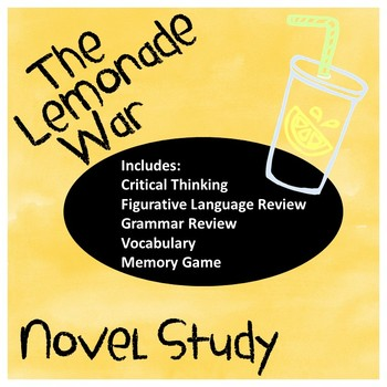 The Lemonade War A Complete Novel Study and Memory Game