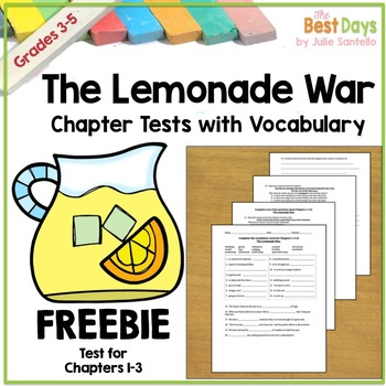 The Lemonade War Chapter 1-3 Test with Vocabulary Freebie!