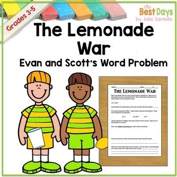 The Lemonade War:  Evan and Scott's Sales Word Problem Activity