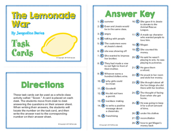 The Lemonade War Task Card Set