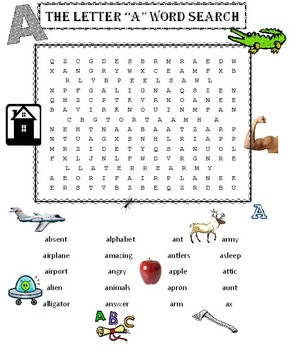 """The Letter """"A"""" Word Search Puzzle"""