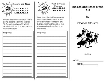 The Life and Times of the Ant Trifold/ Journeys Common Core