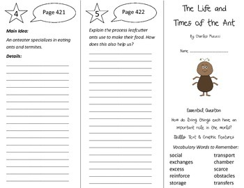The Life and Times of the Ant Trifold - Journeys 4th Gr Un