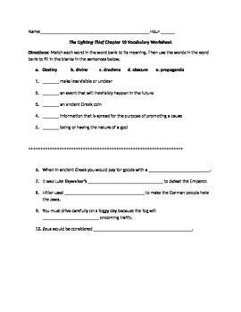 The Lightening Thief Chapter 10 Vocabulary Worksheet