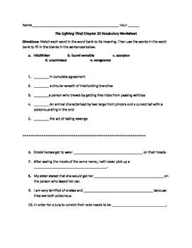 The Lightening Thief Chapter 22 Vocabulary Worksheet