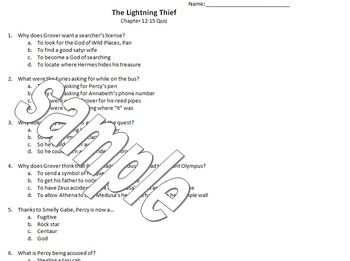 The Lightning Thief comprehension quizzes