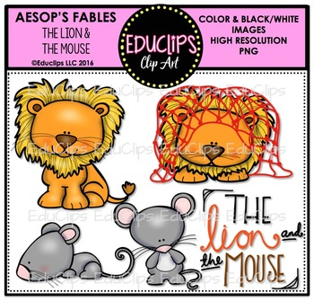 The Lion And The Mouse (Aesop's Fable) Clip Art Bundle