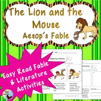 The Lion and the Mouse Easy Read Aesop's Fable Great for E