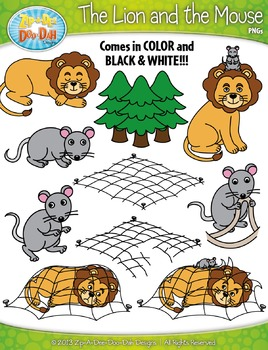 The Lion and the Mouse Famous Fables Clip Art Set — Over 2