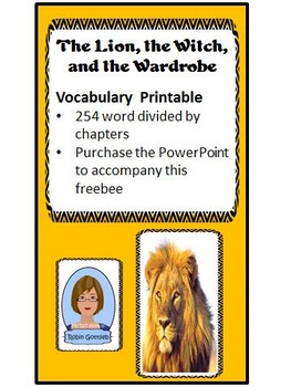 The Lion, the Witch, and the Wardrobe Vocabulary Printable