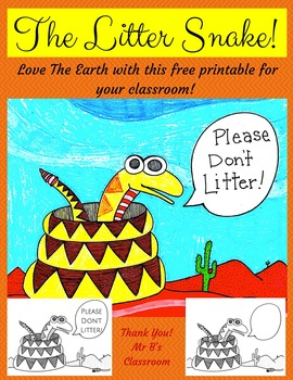 """The Litter Snake! Free """"Please Don't Litter"""" Printable. Lo"""