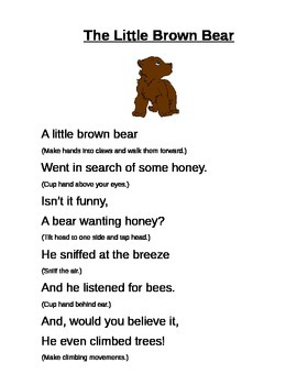 The Little Brown Bear - poem with hand movements