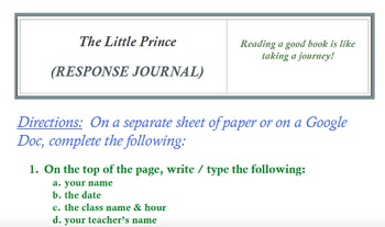 The Little Prince (RESPONSE JOURNAL)