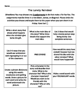 The Lonely Reindeer Tic Tac Toe Choice Board