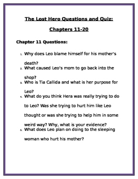 The Lost Hero by Rick Riordan: Chapters 11-20