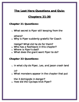 The Lost Hero by Rick Riordan: Chapters 21-30