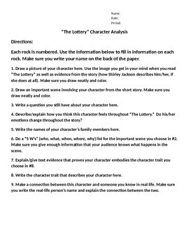 """""""The Lottery"""" Character Analysis"""