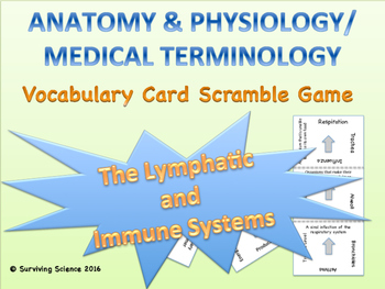 The Lymphatic and Immune Systems Vocabulary Scramble Game: