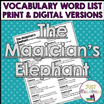 The Magician's Elephant Vocabulary Word List