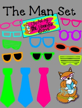 The Man Set- Neon Mustaches Glasses Ties