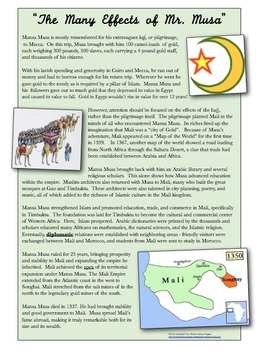 analyzing mansa musas pilgrimage essay Mansa musa assumed the position of ruler of mali during the 14th century what are facts about mansa musa a: quick answer what effect did mansa musa's pilgrimage to mecca have on mali.