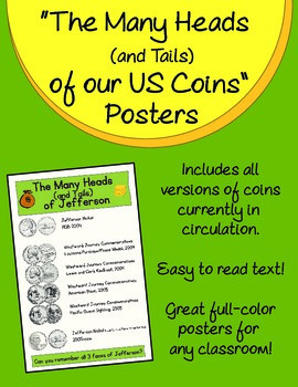 """""""The Many Heads (and Tails) of our US Coins"""" Posters"""