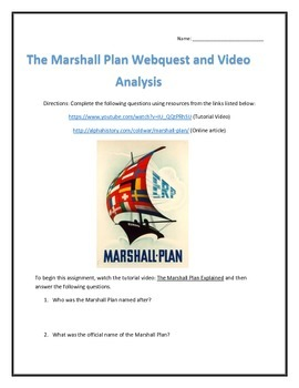 The Marshall Plan- Webquest and Video Analysis with Key