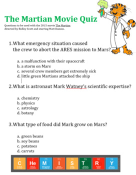 The Martian Movie Questions
