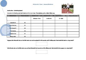 The Mathematics of Sport- Worksheet