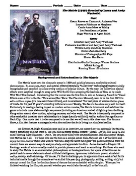 The Matrix Film (1999) Study Guide Movie Packet