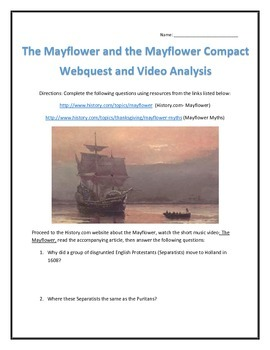 The Mayflower and Mayflower Compact- Webquest and Video An