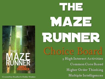 The Maze Runner Choice Board Tic Tac Toe Novel Activities