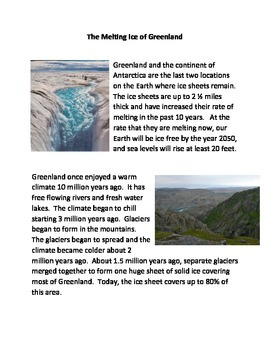 The Melting of the Ice in Greenland