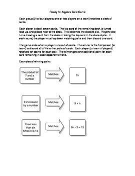 The Memory Game (From words to Algebra Expressions.