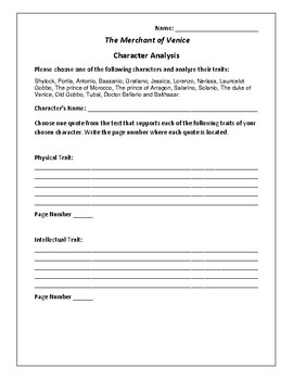 The Merchant of Venice - Character Analysis Activity - Wil