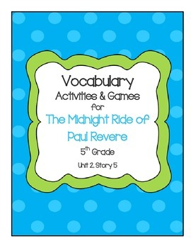 The Midnight Ride of Paul Revere Vocabulary Games and Acti