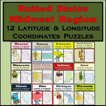 Latitude & Longitude Puzzles - The Midwest Region of the U