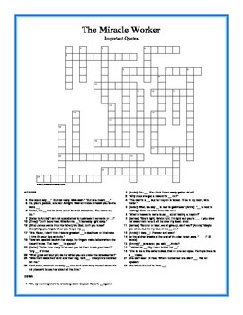 Miracle Worker Important Quotes Crossword Puzzle