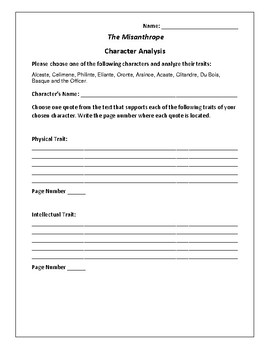 The Misanthrope - Character Analysis Activity - Moliere