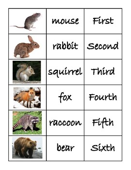 The Mitten Animal Name and Ordinal Cards