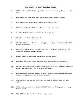The Monkey's Paw Reading Guide with Test Questions