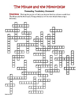 The Mouse and the Motorcycle: 50-word Prereading Crossword